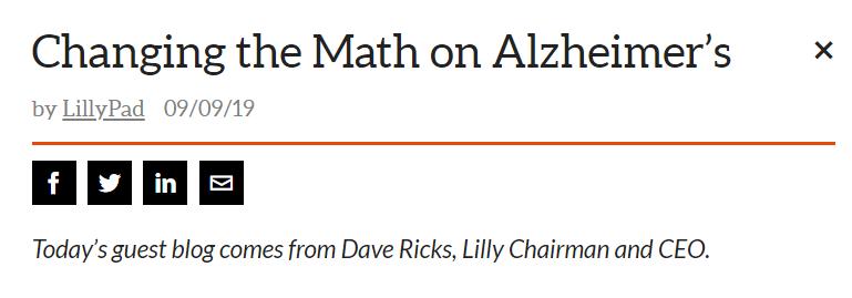 重磅!礼来董事长兼首席执行官David Ricks先生谈阿尔兹海默症药物研发