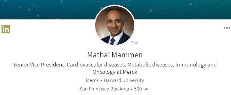 默沙东高级副总裁Mathai Mammen博士将掌管强生的制药R&D!