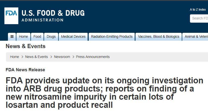 缬沙坦风波跟踪报道   雪上加霜,FDA发现新杂质