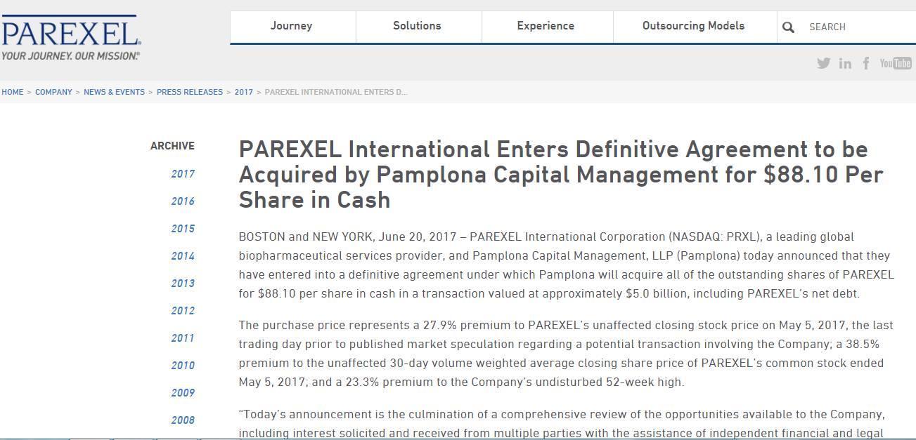 Pamplona计划以50亿美金收购Parexel,将之私有化!