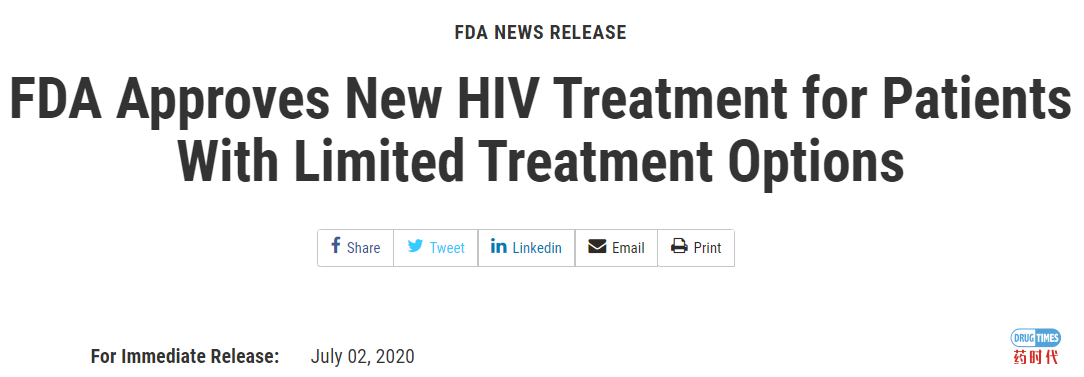FDA为治疗选择有限的HIV患者批准了一款新药