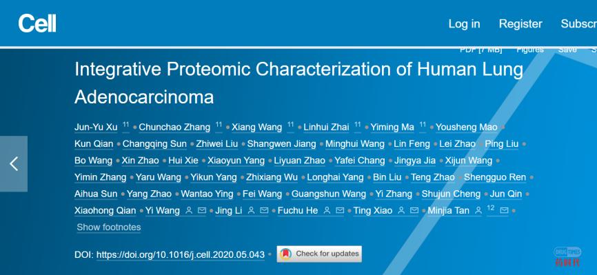 Cell重磅 | 中国学者多单位合作,首次系统揭示肺腺癌分子全景图谱