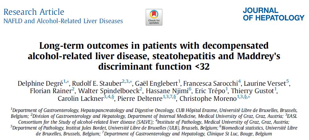 J Hepatol:Maddrey评分<32分且病理提示存在脂肪性肝炎的酒精性肝病患者长期预后特点