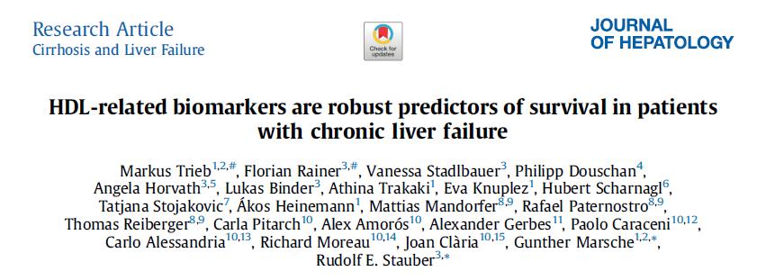J Hepatol:高密度脂蛋白相关的生物标志物是慢性肝衰竭患者生存时间的可靠预测因素
