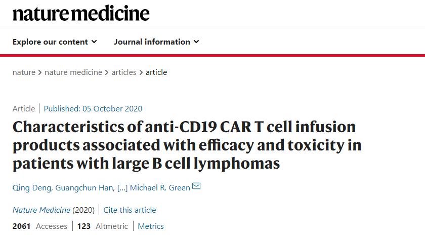 癌症顶级研究中心重磅进展:CAR-T治疗后ct DNA变化可预测治疗效果及不良反应