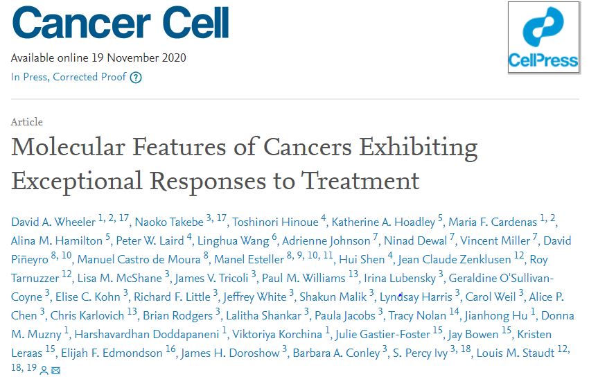 NCI科学家阐述肿瘤治疗特殊反应者产生的分子基础,为精准治疗提供新线索