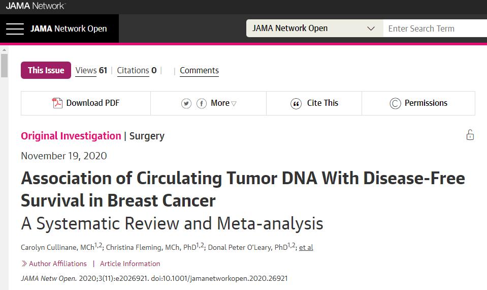 登顶《JAMA》!ct DNA到底和乳腺癌癌症患者预后到底有什么关系?