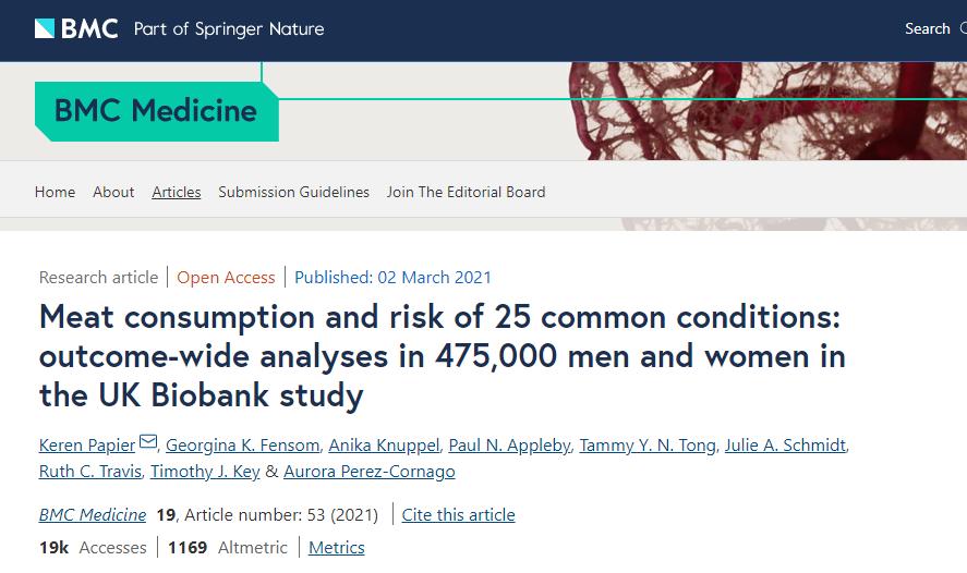 重磅!近45万人研究:肉类摄入不仅增加患癌风险,还会提高其他25种常见病发生率!