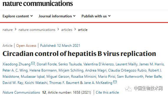 《自然通讯》:生物钟与身体同步,也与病毒同步。。