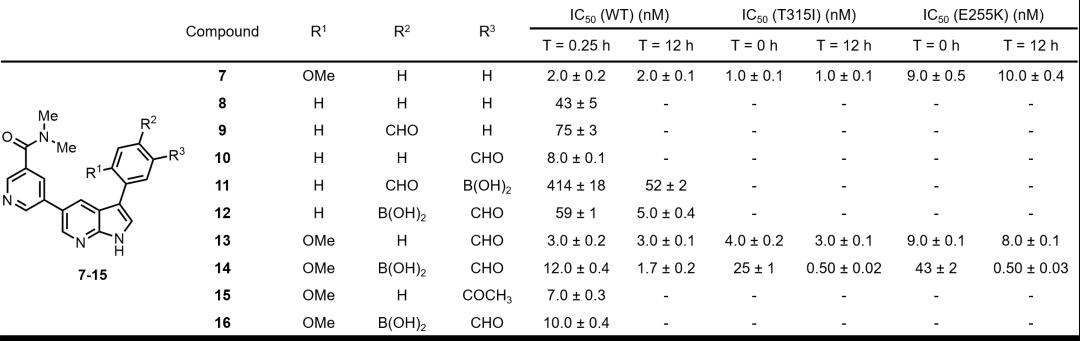 【Angew. Chem.】靶向赖氨酸的ABL共价可逆抑制剂