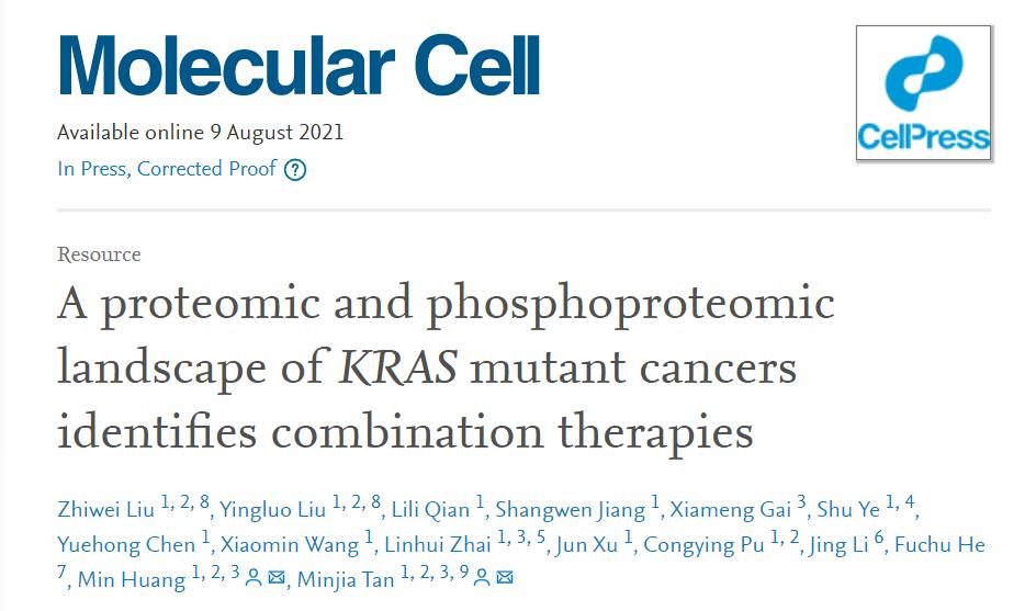 重磅!上海药物所揭示KRAS突变肿瘤的分子分型和精准治疗新策略